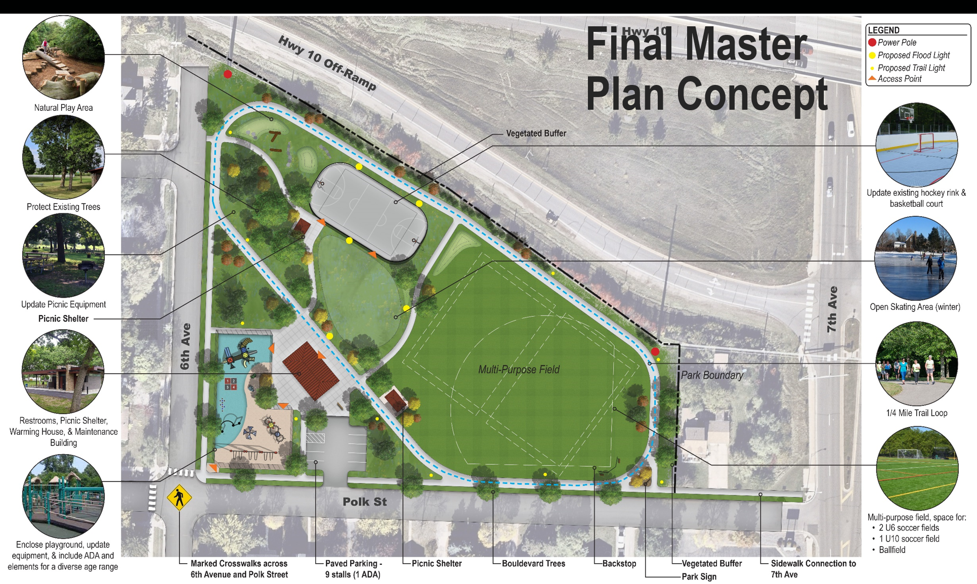 Rudy Johnson Park Master Plan sketch of new park